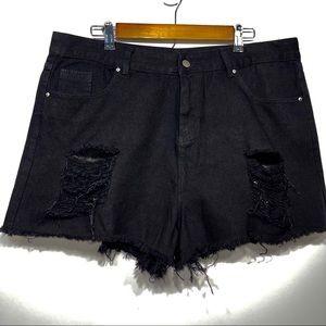 Shein distressed denim black shorts size 1X